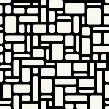 Abstract geometric seamless pattern. White rounded rectangles ov