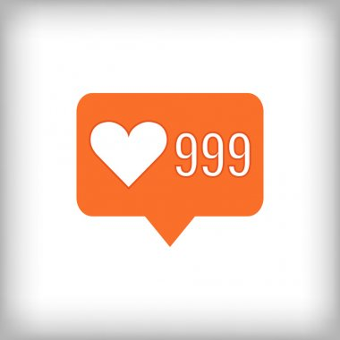 Like orange icon. 999 likes.