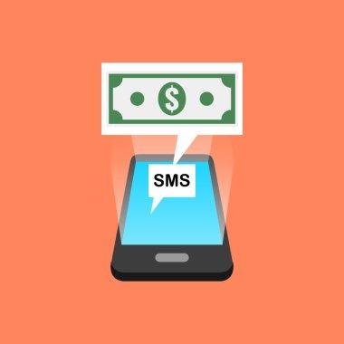 Smartphone sms transaction concept. Isometric design.