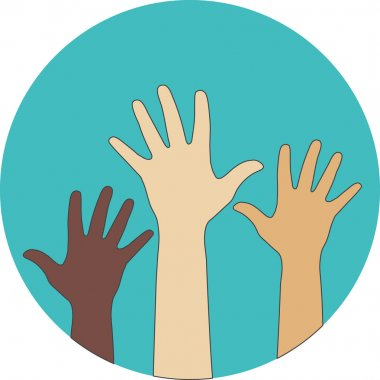 Circle flat icon. Hands raised up. Concept of volunteerism, mult