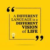 Inspirativní motivační citát. Jiný jazyk je diff