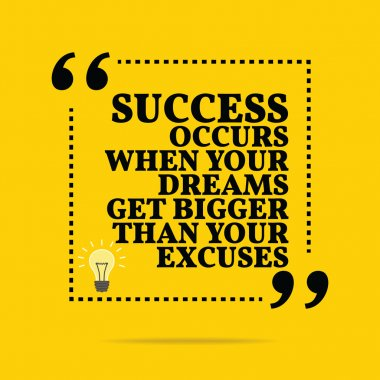 Inspirational motivational quote. Success occurs when your dream