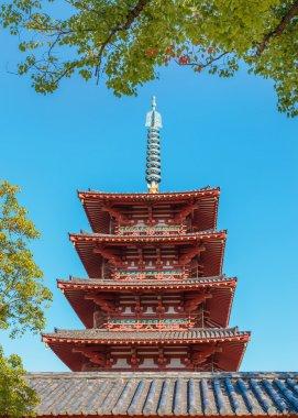 """Картина, постер, плакат, фотообои """"Пяти этажного пагода в храме Shitennoji в Осаке, Япония"""", артикул 66451061"""