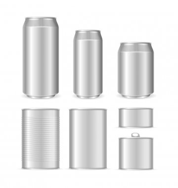 Realistic Detailed 3d Blank Can Packaging Empty Template Mock Up Set. Vector illustration of Metal Cans icon