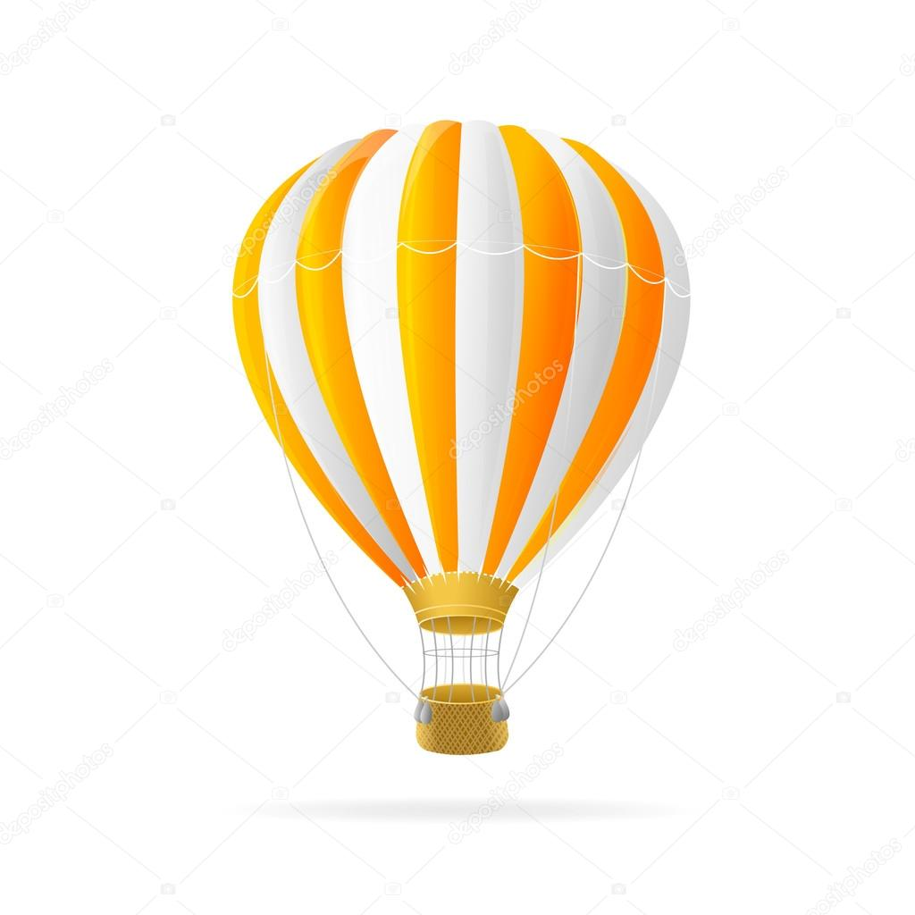 Vector white and orange hot air ballon isolated