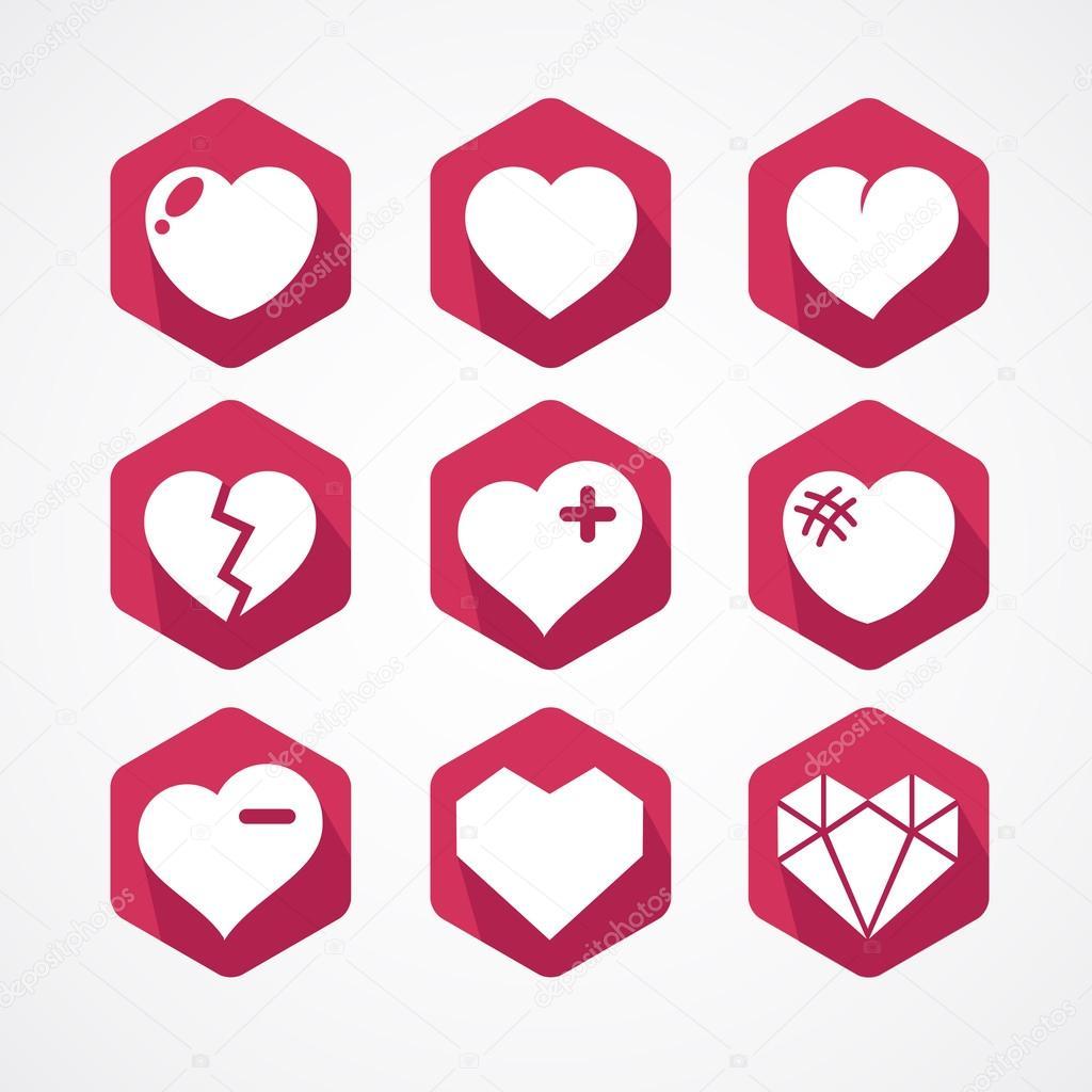 Conjunto de vectores de señales de amor. 9 iconos de corazones– ilustración  de stock 724fb7fc0cdb2
