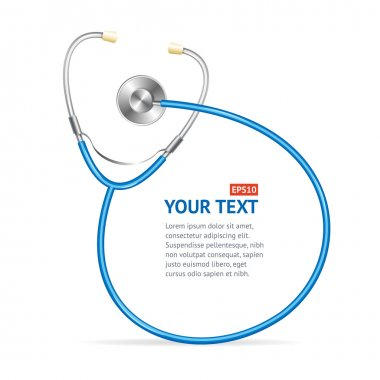 Vector blue Stethoscope with place for text.