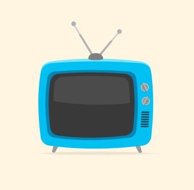 Vector blue retro tv Flat Design