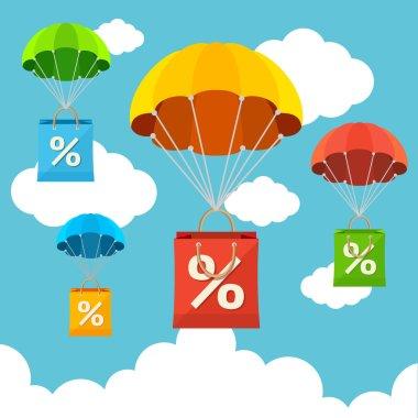 Vector parachute with paper bag sale. Flat Design