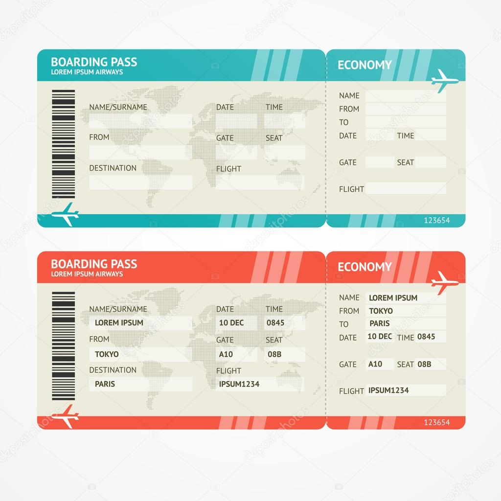 Vector illustration airplane tickets. Travel concept. Isolated on white. Enjoy your holiday stock vector