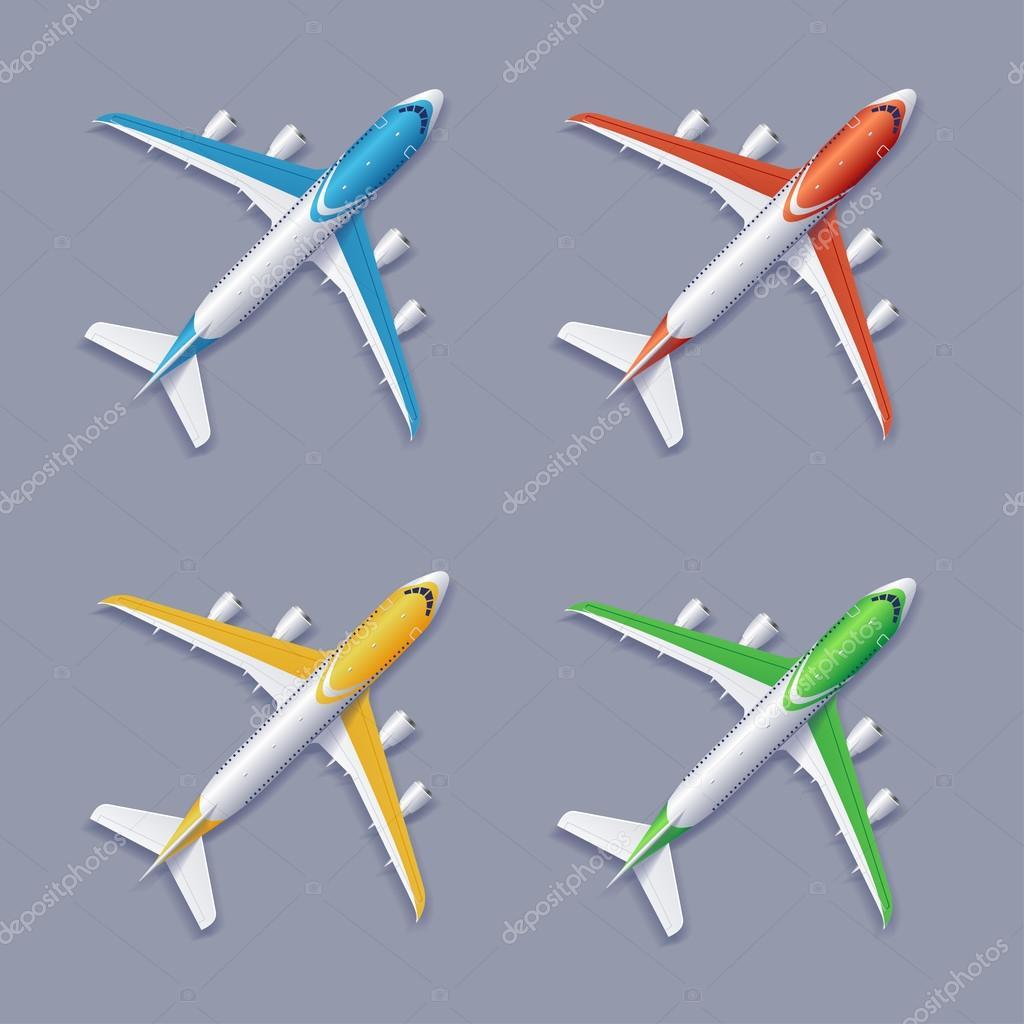 Vector conjunto de avión de colores — Archivo Imágenes Vectoriales ...
