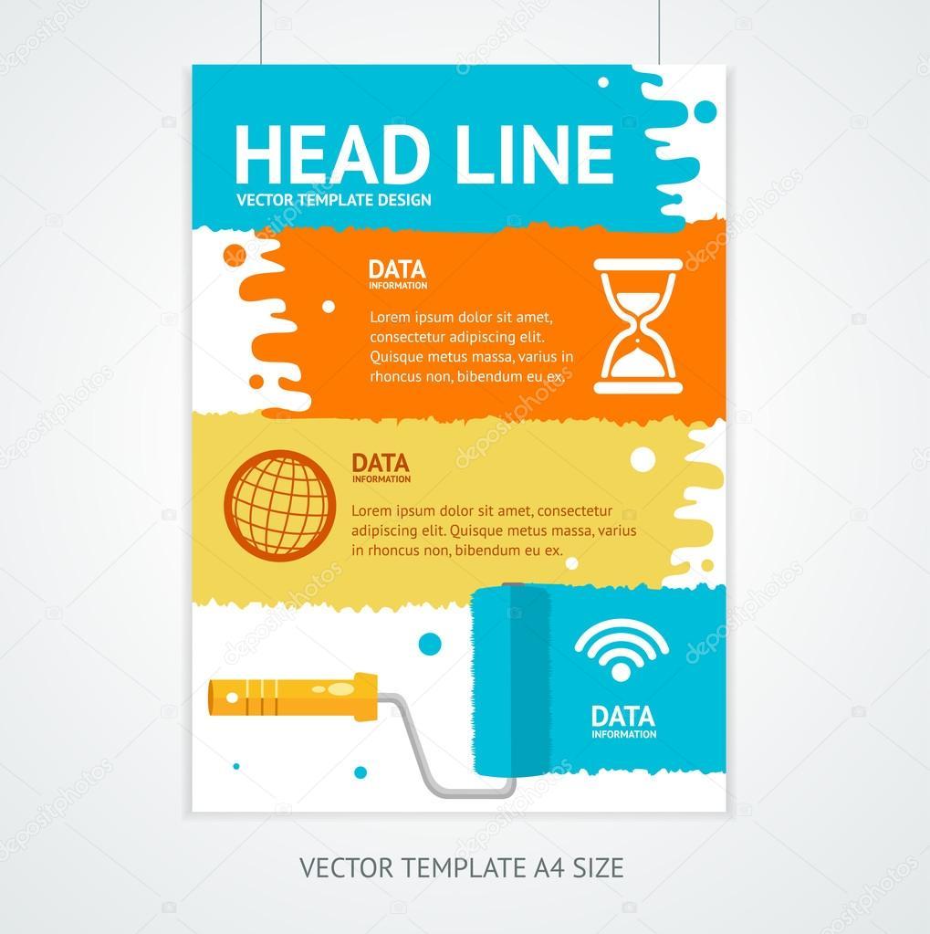 Cartel Poster plantilla con Rollerbrush. Vector de — Vector de stock ...