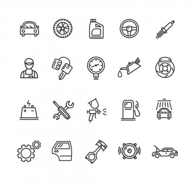 Car Service Outline Icons Set. Vector