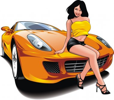 nice girl and my original designed sport car