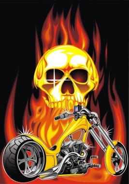 motorbike and human skull