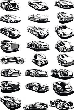 black and white car set