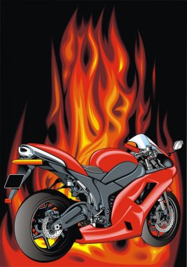 motorbike and fire background