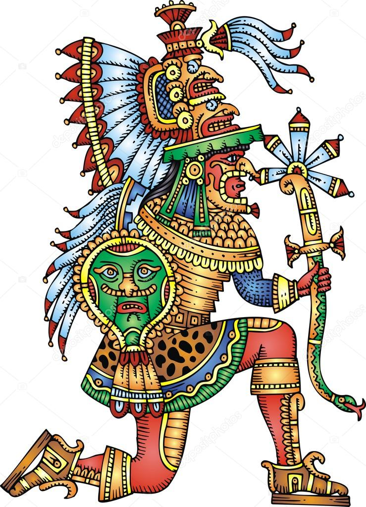 Ancient Aztec Symbols Mayan warrior isolated...