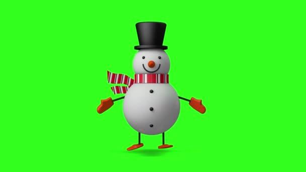 3D Smiley Christmas Hóember fut és villog a szemét, Display vagy dekoráció design karácsonyi ünnepség koncepció, zökkenőmentes hurkolás animáció zöld képernyőn háttér.