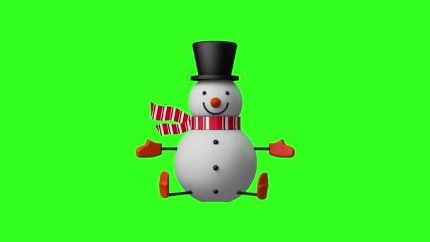3D Smiley Christmas Hóember ül és integet a kezét, Kijelző és dekoráció design karácsonyi ünnepség koncepció, zökkenőmentes hurkolás animáció zöld képernyőn háttér.