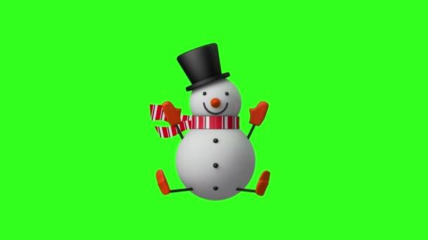 3D Boldog Karácsonyt Hóember forgó és integető a kezét, Kijelző és dekoráció design karácsonyi ünnepség koncepció, zökkenőmentes hurkolás animáció zöld képernyőn háttér.