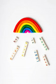 Funny platicine rainbow with falling important for LGBT community words. LGBT concept. Card or poster for pride month.