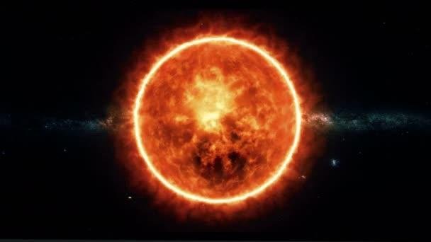 Sonne mit Fackeln dreht sich im All