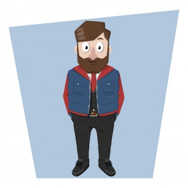 Beard business man using winter style jacket