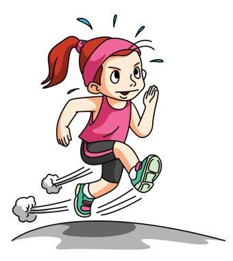 Girl Running Exercise isolated on white