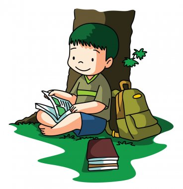 Boy reading book under tree