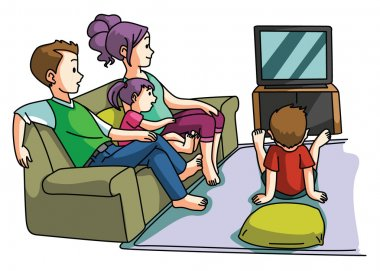 Family watching tv time