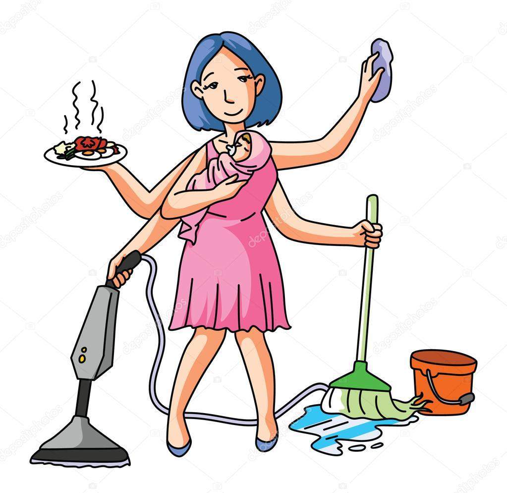 ménagère nettoyage et dépoussiérage — Image vectorielle ...