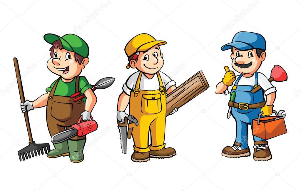 Travailleur jardinier menuisier et plombier image for Service jardinier
