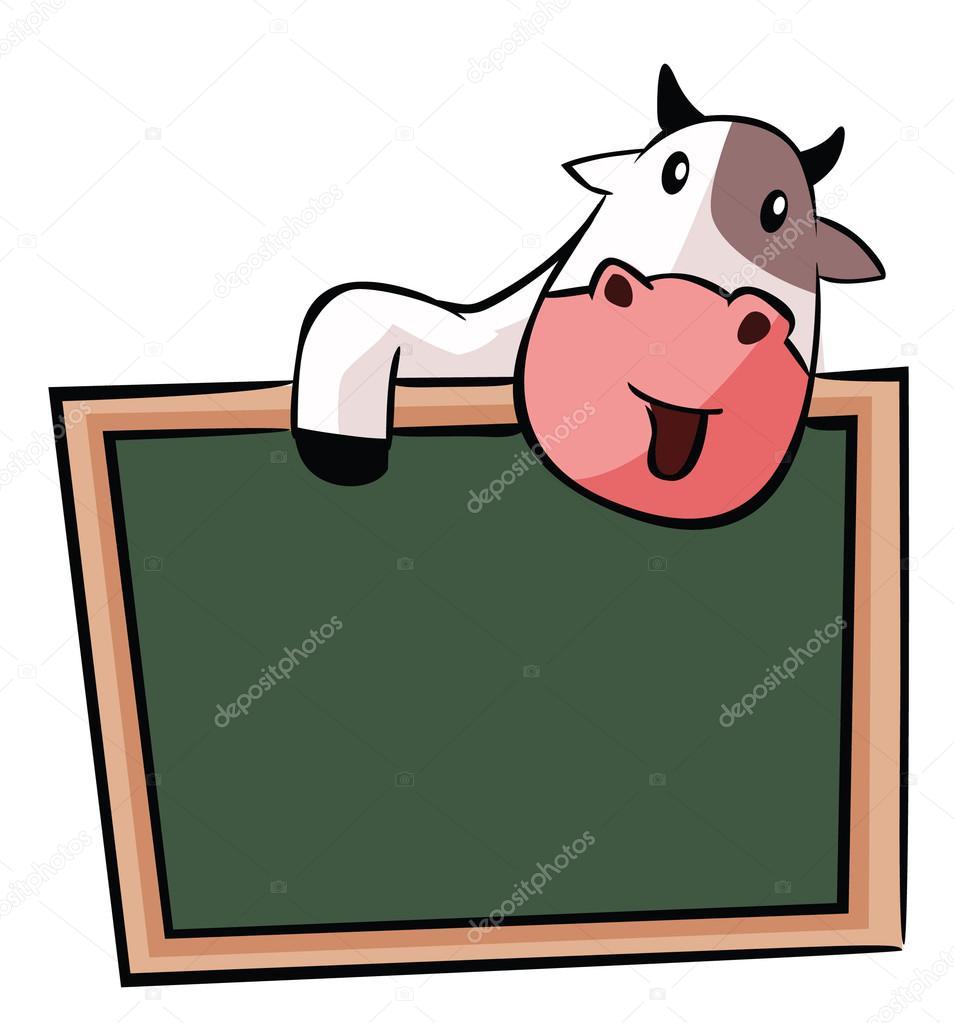 Vache dr le de bande dessin e avec tableau noir image - Image de vache drole ...