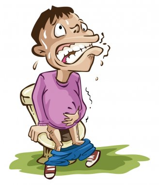 Boy on toilet with stomach ache