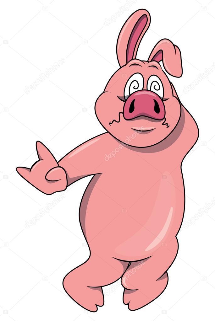 Fumetto spaventato maiale su bianco vettoriali stock for Scarica clipart