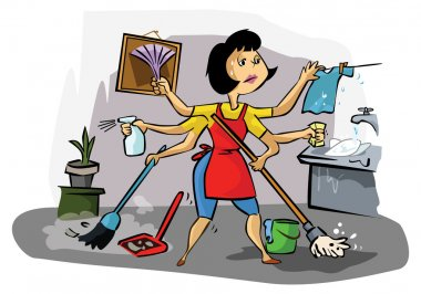 Busy housekeeper doing many tasks