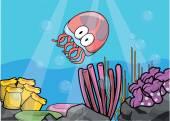 Želé ryby, úhoři a krabí podvodní scenérie s bílou