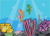 Mořský koník podvodní scenérie