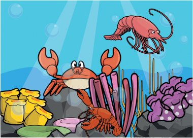 Crabs and eel Underwater scenery with white banner