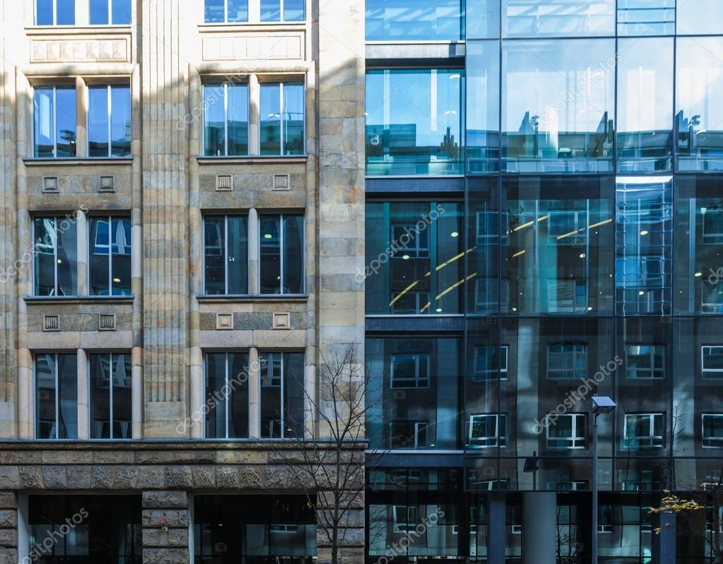 Two exterior facades of commercial buildings — Stock Photo