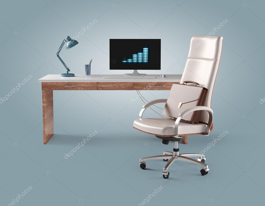 Lampade Da Tavolo Lavoro : Uomo d affari sul posto di lavoro con computer sedia lampada da