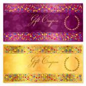 Fotografia Modello della scheda certificato regalo, Coupon, Voucher, ricompensa o regalo con i coriandoli luminosi (particelle colorate, cerchi). Progettazione del fondo oro per check, bonus denaro regalo, banconote delle regalo, flyer, banner