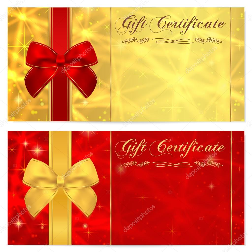 Gift certificate voucher coupon invitation or gift card template gift certificate voucher coupon invitation or gift card template with sparkling twinkling stars texture and bow ribbon red gold background design yadclub Image collections