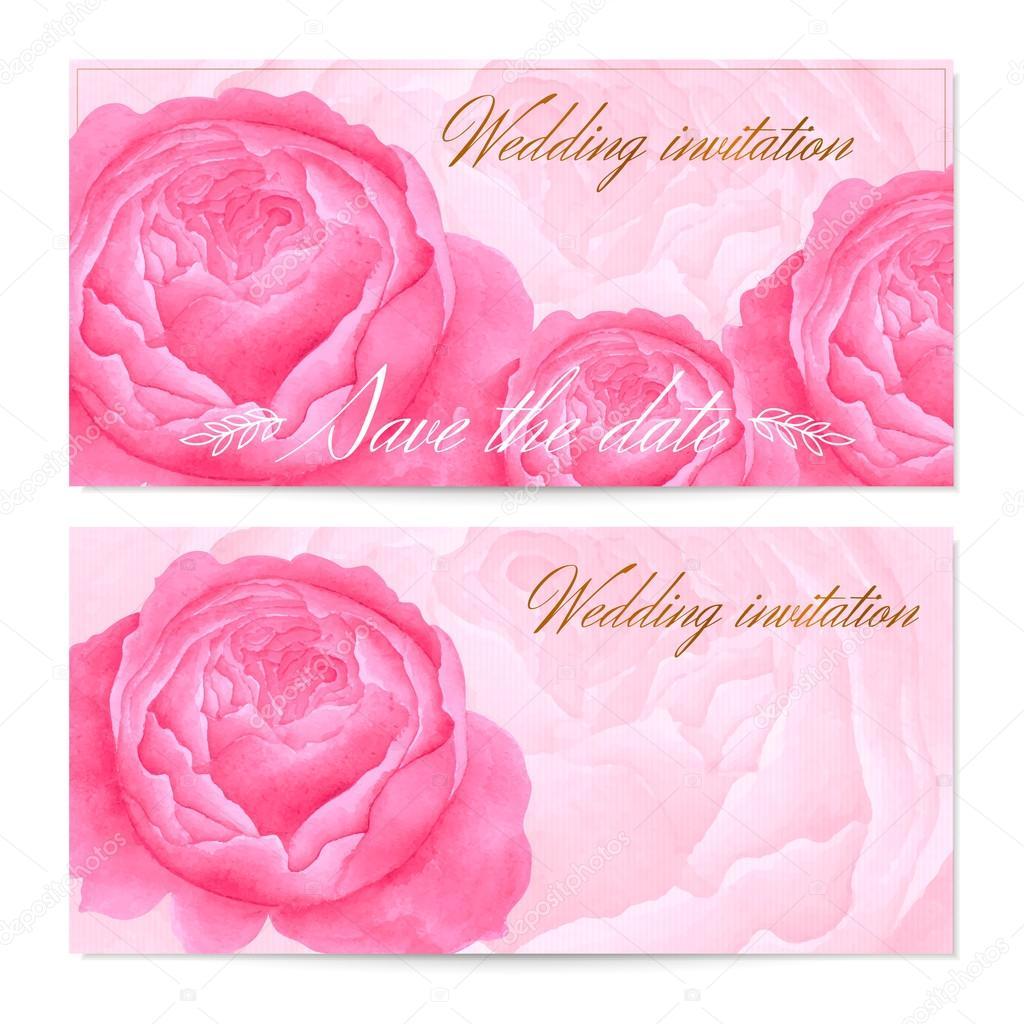 Datum Hochzeit Einladung Speichern / Floral Grusskarte (Gutschein / Coupon)  Mit Vektor Aquarell Blumen (Pfingstrosen, Rosenmuster), Elegantes Design  Frame, ...