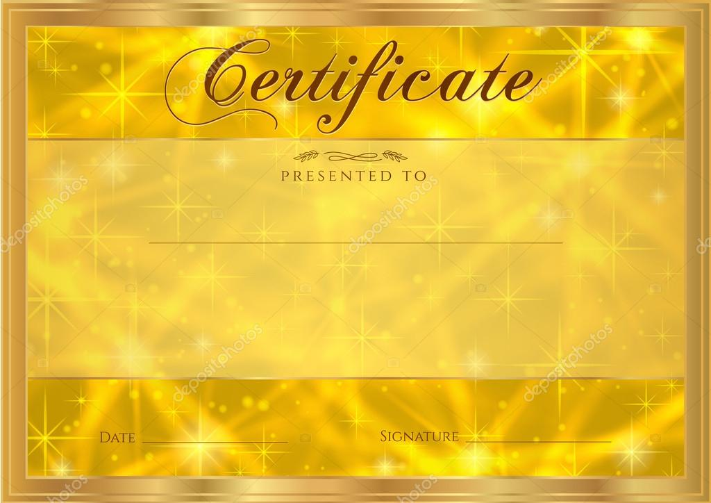 certificate diploma of completion abstract gold background  certificate diploma of completion abstract gold background sparkling twinkling stars cosmic shiny