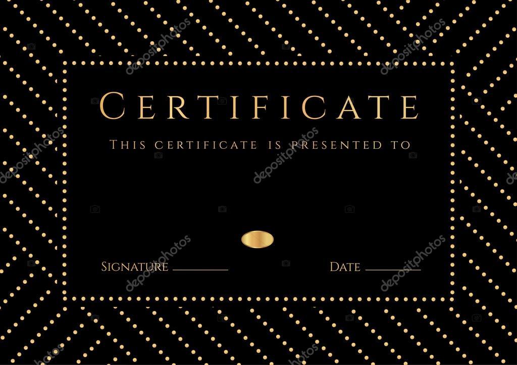 Certificado, Diploma de aprobación con fondo negro, patrón oro ...
