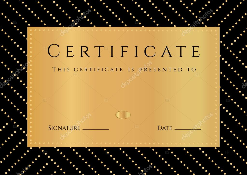 Diploma de aprobación con fondo negro, patrón oro elemets, frontera ...