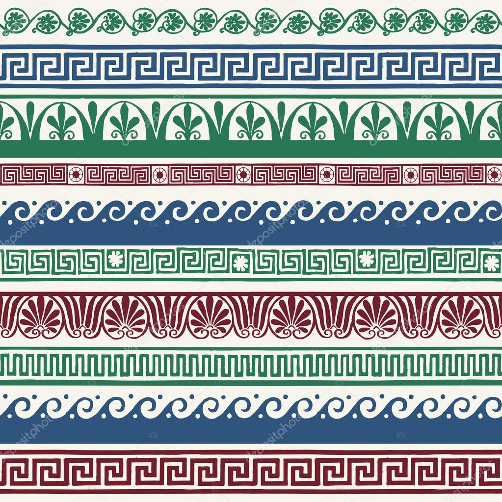 Greek style seamless borders - hand drawing — Stock Vector ...