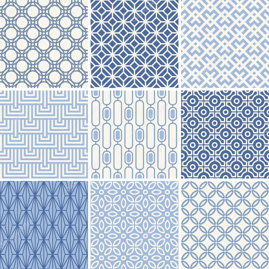 Seamless oriental geometric patterns set in blue clipart vector